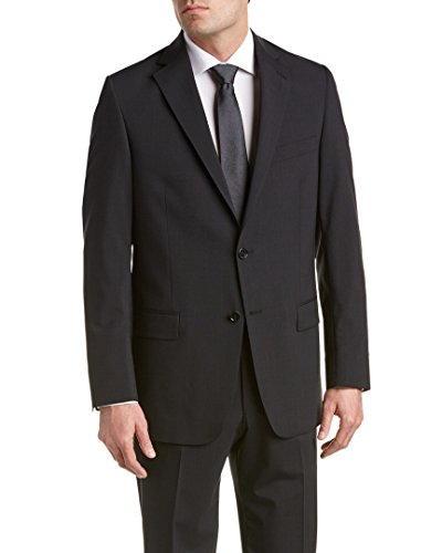 Hart Schaffner Marx Mens Wool-Blend Suit With Flat Front Pant, 44R, Black