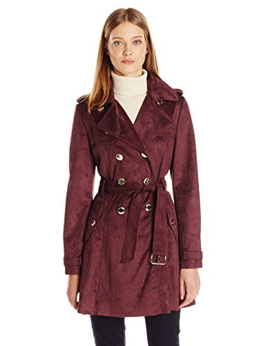 Jessica Simpson Women's Suede Belted Rain Trench Coat, Burgundy, M
