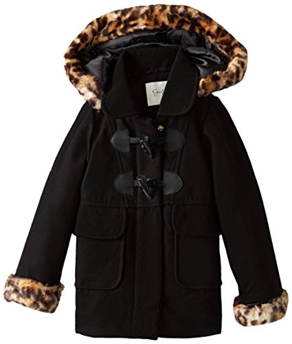 Jessica Simpson Little Girls' Toddler Print Trim Faux Wool Coat, Black, 2T