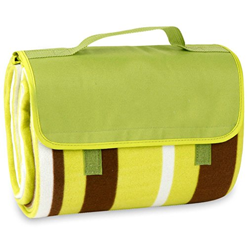 Outdoor Water-Resistant Picnic Blanket Tote,Green Stripe