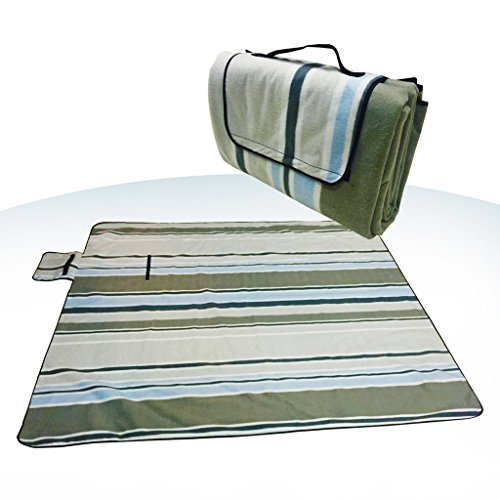 XXX-Large 70×80″ Picnic Blanket Waterproof bottom Soft top Polar Fleece extra large outdoor travel water sand resistant camping Stripe fold perfect for grass, tablecloth or handy sandproof All-purpose