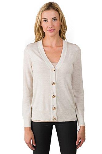 JENNIE LIU Women's 100% Merino Wool Long Sleeve V Neck Button Cardigan Sweater Beige Large