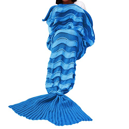 Mermaid Tail Blanket IdealHouse Wave Stripes Type All Seasons Soft Warm Sleeping Bag for Adult Reading Watching in Living Room Bedroom Sofa Blue