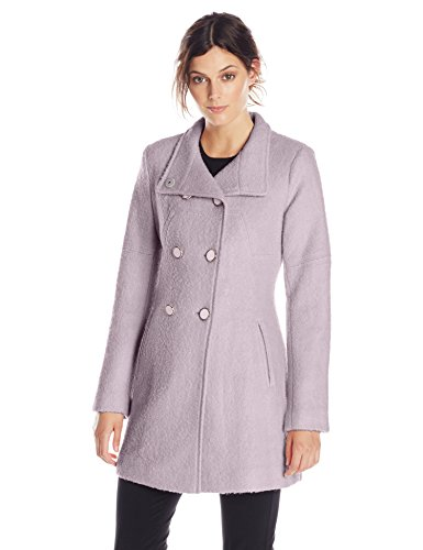 Jessica Simpson Women's Double-Breasted Boucle Wool Coat, Lilac, Medium