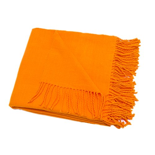 HollyHOME Machine Washable Summer Throw Blanket with Tassels, Lightweight and Soft for Daily Use, 50 x 60 Inch, Bright Orange Burnt Orange
