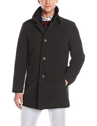 Calvin Klein Men's Coleman Top Coat with Knit Bib, Charcoal, 38