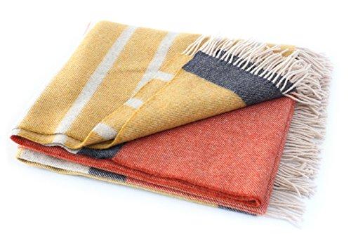 John Hanly Irish Merino Wool Blanket 75 X 58 Yellow